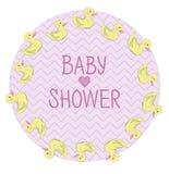 Cartolina per la doccia di bambino della ragazza con l'anatra Immagine Stock