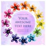 Cartolina quadrata con i fiori dell'acquerello Fotografie Stock Libere da Diritti