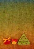 Cartolina tricottata fatta a mano di Natale Fotografie Stock Libere da Diritti