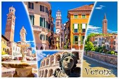 Cartolina turistica dei punti di riferimento di Verona con l'etichetta Fotografie Stock Libere da Diritti