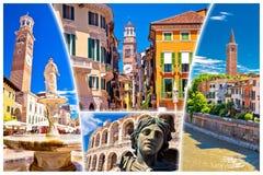 Cartolina turistica variopinta dei punti di riferimento di Verona Fotografia Stock Libera da Diritti