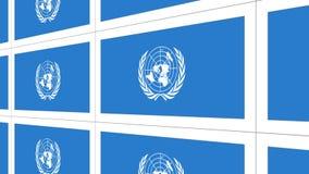 Cartoline con la bandiera delle nazioni unite illustrazione di stock