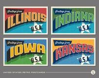 Cartoline d'annata di tipografia degli Stati Uniti Fotografie Stock