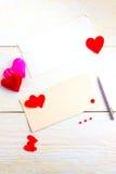 Cartoline d'auguri in bianco il giorno del ` s del biglietto di S. Valentino Fotografie Stock Libere da Diritti