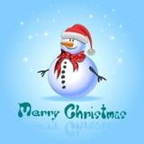 Cartoline d'auguri blu con il pupazzo di neve di natale Fotografia Stock