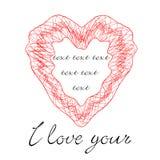 Cartoline d'auguri con forma del cuore Fotografia Stock Libera da Diritti