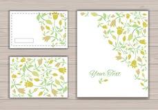 Cartoline d'auguri con i fiori Immagini Stock Libere da Diritti