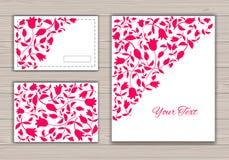 Cartoline d'auguri con i tulipani rossi Fotografia Stock Libera da Diritti