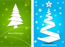 Cartoline d'auguri con l'albero di Natale Fotografie Stock Libere da Diritti