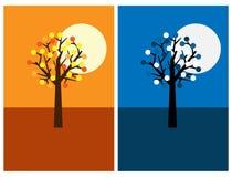 Cartoline d'auguri con l'albero, la notte ed il giorno Immagini Stock Libere da Diritti