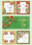 Cartoline d'auguri con l'ornamento floreale di Hohloma Fotografia Stock Libera da Diritti