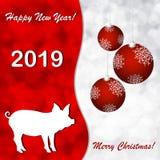 Cartoline d'auguri con un nuovo anno del maiale illustrazione vettoriale