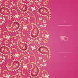 Cartoline d'auguri d'annata con i turbinii ed i motivi floreali nello stile orientale illustrazione vettoriale