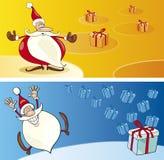 Cartoline d'auguri del Babbo Natale Fotografia Stock Libera da Diritti