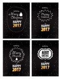 Cartoline d'auguri 2016 del buon anno e di Buon Natale messe Fotografie Stock Libere da Diritti