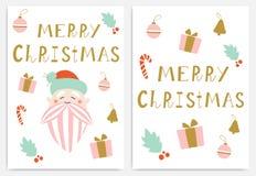 Cartoline d'auguri di Buon Natale immagine stock
