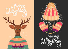 Cartoline d'auguri di Buon Natale Fotografia Stock Libera da Diritti