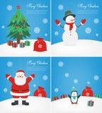 Cartoline d'auguri di Buon Natale messe Collezioni di Natale con Santa ed altri caratteri Vettore illustrazione vettoriale