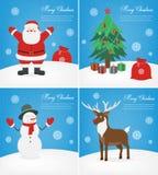 Cartoline d'auguri di Buon Natale messe Collezioni di Natale con Santa ed altri caratteri Vettore royalty illustrazione gratis