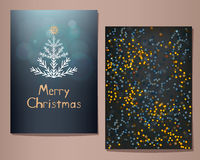 Cartoline d'auguri di Buon Natale messe Illustrazione di vettore Immagini Stock