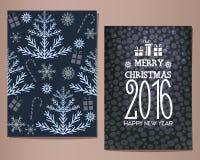 Cartoline d'auguri di Buon Natale messe Illustrazione di vettore Immagini Stock Libere da Diritti