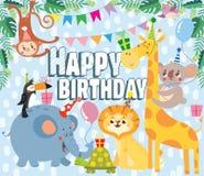 Cartoline d'auguri di compleanno con gli animali svegli royalty illustrazione gratis