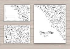 Cartoline d'auguri di contorno con i fiori Immagini Stock Libere da Diritti