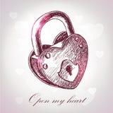 Cartoline d'auguri di giorno del biglietto di S. Valentino con il lucchetto Fotografia Stock