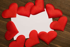 Cartoline d'auguri di giorno del ` s del biglietto di S. Valentino, cuori rossi Immagine Stock Libera da Diritti