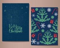 Cartoline d'auguri di Holly Jolly Christmas messe, illustrazione Immagini Stock