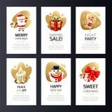 Cartoline d'auguri di Natale messe con oro immagini stock libere da diritti