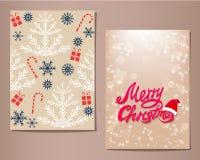 Cartoline d'auguri di Natale messe, illustrazione Fotografia Stock