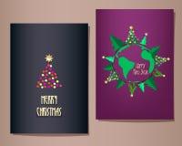 Cartoline d'auguri di Natale messe, illustrazione Immagini Stock