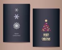Cartoline d'auguri di Natale messe, illustrazione Fotografie Stock