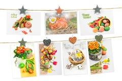 Cartoline d'auguri di Pasqua appuntate sulle corde Fotografie Stock
