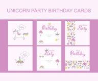 Cartoline d'auguri di Unicorn Party Birthday, progettazione tipografica di vettore per la carta dell'invito illustrazione vettoriale