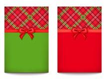 Cartoline d'auguri di vettore con il modello del tartan Immagini Stock