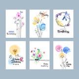 Cartoline d'auguri disegnate a mano di compleanno dell'acquerello Fotografia Stock