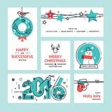 Cartoline d'auguri ed insegne del nuovo anno e di Natale Immagini Stock