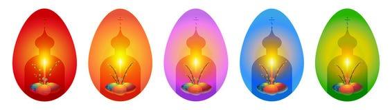 Cartoline d'auguri ortodosse di Pasqua nella forma delle uova Fotografia Stock
