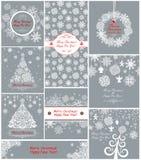 Cartoline d'auguri pastelli di natale con i fiocchi di neve di carta Fotografia Stock Libera da Diritti