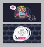 Cartoline d'auguri per il San Valentino con il gufo adorabile sveglio Fotografie Stock Libere da Diritti