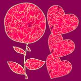 Cartoline d'auguri per nozze ed il giorno di Valentine's illustrazione di stock
