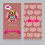 Cartoline d'auguri per Valentine& x27; giorno di s con il gufo adorabile sveglio Fotografie Stock Libere da Diritti