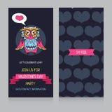 Cartoline d'auguri per Valentine& x27; giorno di s con il gufo adorabile sveglio Fotografia Stock Libera da Diritti