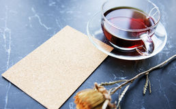 Cartoline d'auguri piane di disposizione Rose Tea Immagine Stock