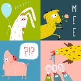 Cartoline d'auguri quadrate luminose degli animali da allevamento del fumetto Immagine Stock