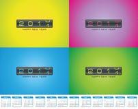 Cartoline d'auguri variopinte per il calendario 2011 di indennità Fotografie Stock