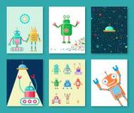 Cartoline dei robot Fotografia Stock