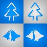 Cartoline di Natale blu e grige Fotografie Stock Libere da Diritti